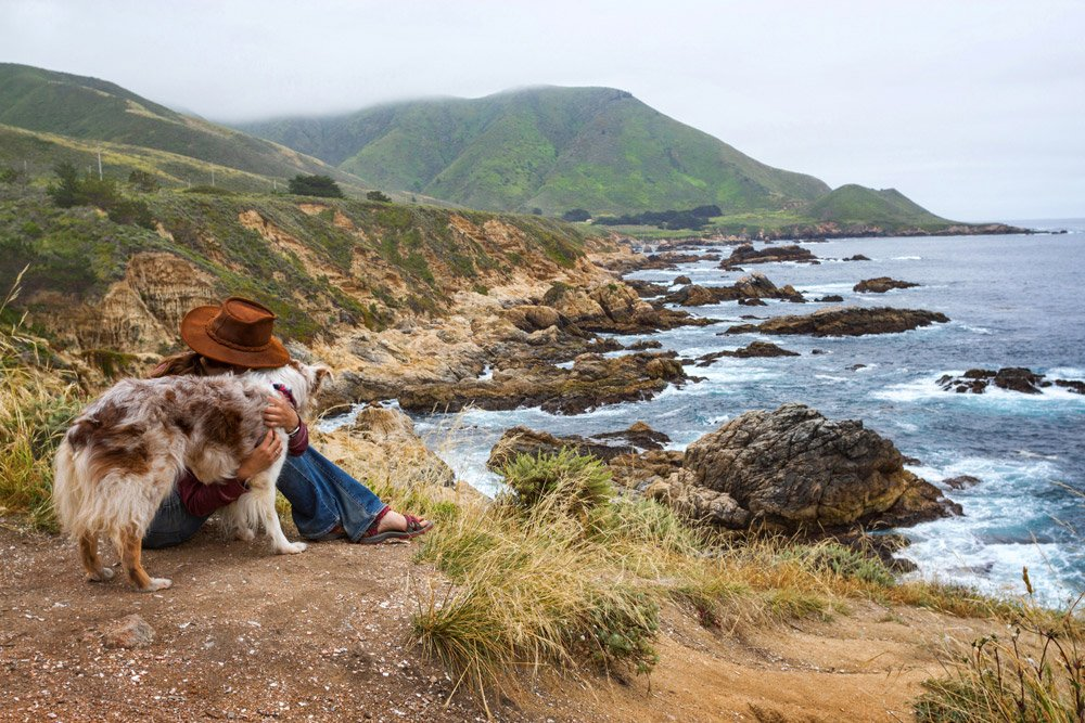 Girl and dog sitting on ocean cliff