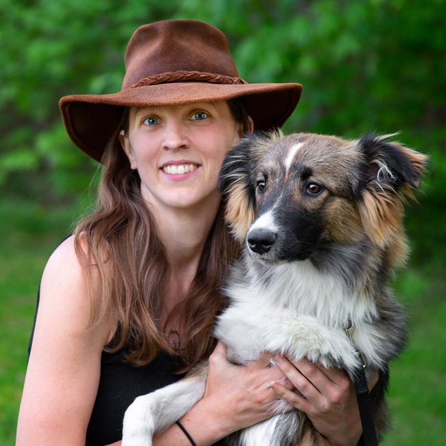 photo of Blue Amrich with her dog, Flint