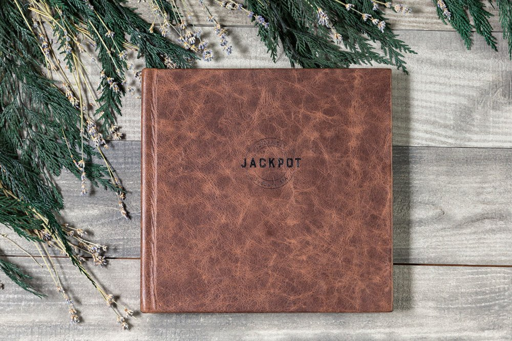 photo showing an album with a leather cover