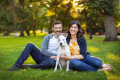 Family photographed with dog in Boston Public Garden